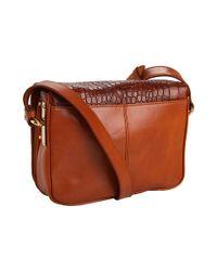 Badgley Mischka | Brown Charlene Croco - Leather Shoulder Bag | Lyst