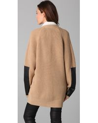 By Malene Birger | Brown Igano Leather-paneled Wool-blend Cardigan | Lyst