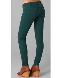 Current/Elliott | Green The Ankle Skinny Jeans | Lyst