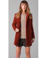 Lover | Brown Hooded Pea Coat | Lyst