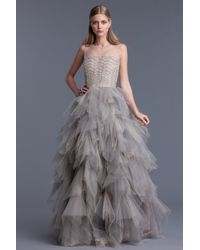 Oscar de la Renta | Natural Tulle Sleeveless Gown | Lyst