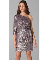Shoshanna - Metallic One Shoulder Draped Dress - Lyst