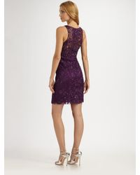 Sue Wong - Purple Embroidered Dress - Lyst