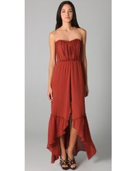 Thread Social | Brown Strapless Gown with Tap Shorts Lining | Lyst