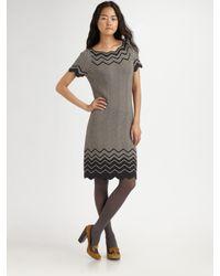 Tory Burch | Gray Kent Chevron Knit Dress | Lyst