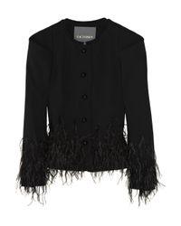 Zac Posen - Black Feather-embellished Wool-blend Jacket - Lyst