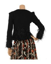 Zac Posen - Black Feather-embellished Wool-blend Jacket - Lyst