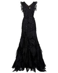 Carolina Herrera | Black Scattered Crystal Gown | Lyst