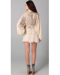Issa - Natural Short Kimono Dress - Lyst