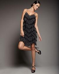 Aidan Mattox | Black Tiered Beaded Cocktail Dress | Lyst
