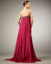Alberto Makali - Pink Flowy Bead-top Strapless Gown - Lyst