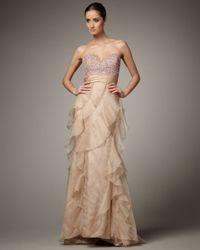 Badgley Mischka | Natural Strapless Sequin-top Ruffle Gown | Lyst