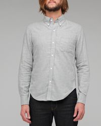 Band of Outsiders | Gray Grey Melange Plain Flannel Shirt for Men | Lyst