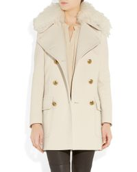 Emilio Pucci - Natural Shearling-collar Wool-blend Coat - Lyst