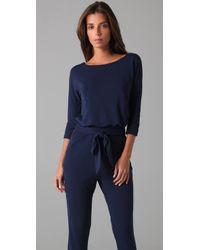 Halston - Blue Long Sleeve Jumpsuit - Lyst