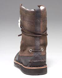 John Varvatos Brown Hipster Shearling Work Boot for men