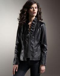 Neiman Marcus | Black Ruffled Leather Jacket | Lyst