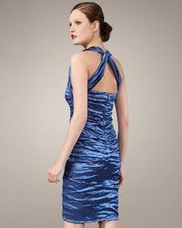 Nicole Miller   Blue Techno Metallic Halter Dress   Lyst