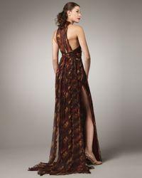 Pamella Roland | Red Halter Printed-silk Gown | Lyst
