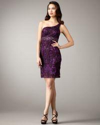 Sue Wong - Purple One-shoulder Floral Applique Dress - Lyst