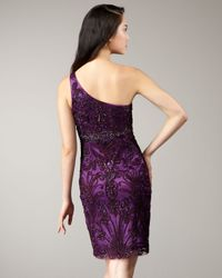 Sue Wong | Purple One-shoulder Floral Applique Dress | Lyst