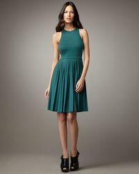 Tibi | Green Pleated Wool Jersey Dress | Lyst