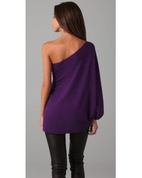 Halston | Purple One Sleeve Top | Lyst