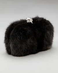 Alexander McQueen - Black Skull-clasp Mink Box Clutch - Lyst