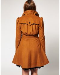 ASOS Collection - Brown Asos Curve 70s Fit and Flare Coat - Lyst