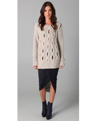 Markus Lupfer - Gray Hand Knit Cable Sweater - Lyst