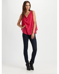 Alice + Olivia | Pink Lucy Silk Trapeze Top | Lyst