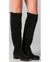 CoSTUME NATIONAL | Black Above The Knee Suede Flat Boots | Lyst