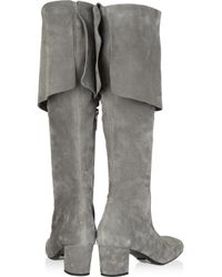 Michael Kors - Gray Suede Over-the-knee Boots - Lyst