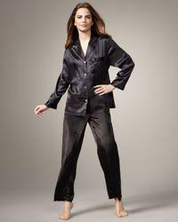 Neiman Marcus | Classic Silk Pajamas, Black | Lyst