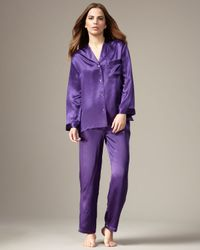 Neiman Marcus   Classic Silk Pajamas, Purple   Lyst