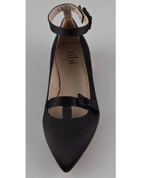 Tibi - Black Satin T-strap Flats - Lyst