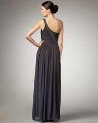 Aidan Mattox - Metallic One-shoulder Beaded Gown - Lyst