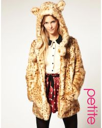 ASOS Collection | Brown Asos Petite Faux Fur Leopard Hooded Coat with Ears | Lyst
