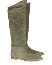 Belle By Sigerson Morrison - Green Suede Flat Boots - Lyst