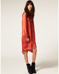 Cheap Monday | Orange Satin Tunic Shirt | Lyst
