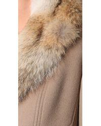 Elie Tahari - Natural Joanne Coat with Fur Collar - Lyst