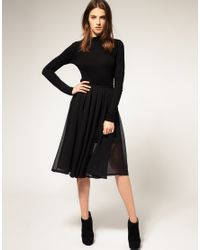 Full Circle | Black Double Layer Midi Skirt | Lyst