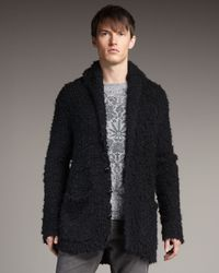 John Varvatos Black Hairy-knit Cardigan for men