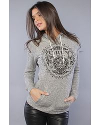 Obey   Gray The Floral Gem Fleece in Heather Charcoal   Lyst