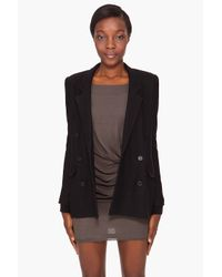 Smythe - Black Double Breasted Knit Blazer - Lyst