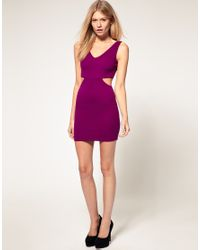 ASOS Collection | Purple Asos Petite Exclusive Mini Dress with Cross Back Cut Out Side | Lyst