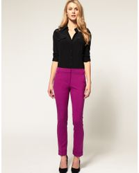 ASOS - Purple Slim Trousers With Jet Pocket - Lyst