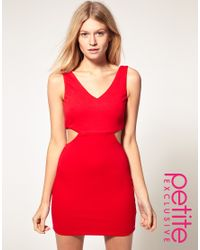 ASOS Collection | Red Asos Petite Exclusive Mini Dress with Cross Back Cut Out Side | Lyst