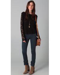 Free People | Black Lace Sleeve Sweater | Lyst