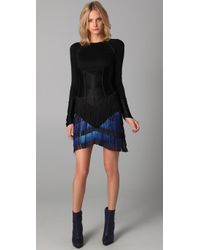Jen Kao | Black Long Sleeve Fringe Top | Lyst